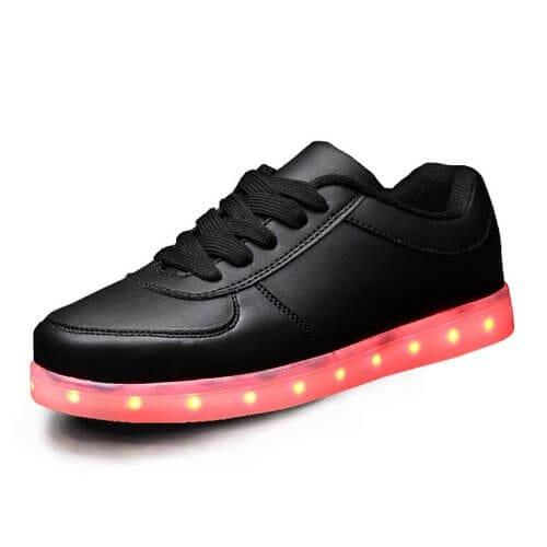 black low top led shoes