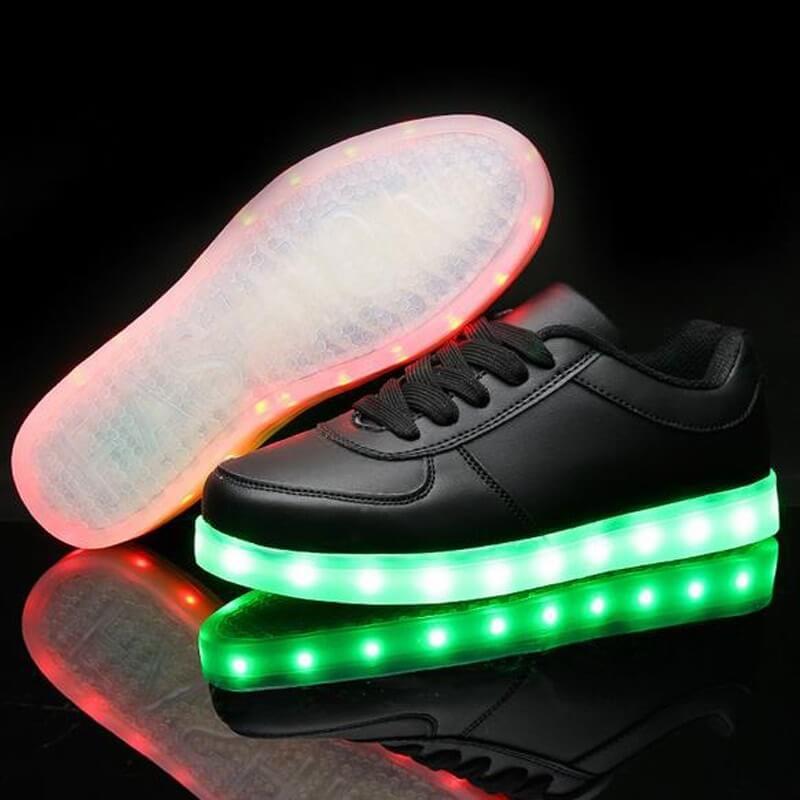 LED Shoes Mens Black Low Top