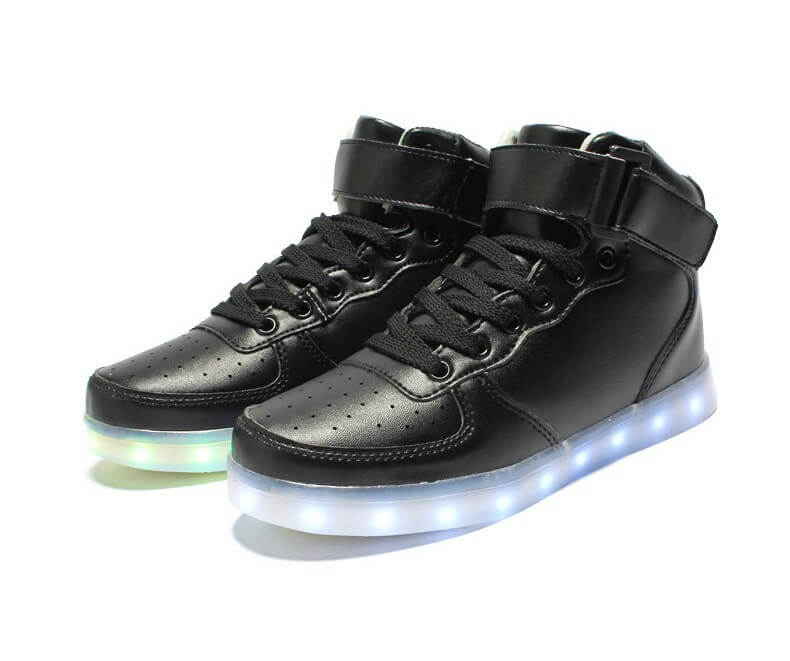 LED Shoes Mens Black High Top Remote d2844694a