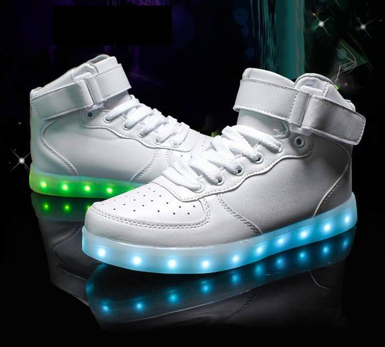 f38d3006 LED Shoes Mens White High Top Remote