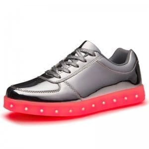 low top silver led shoes