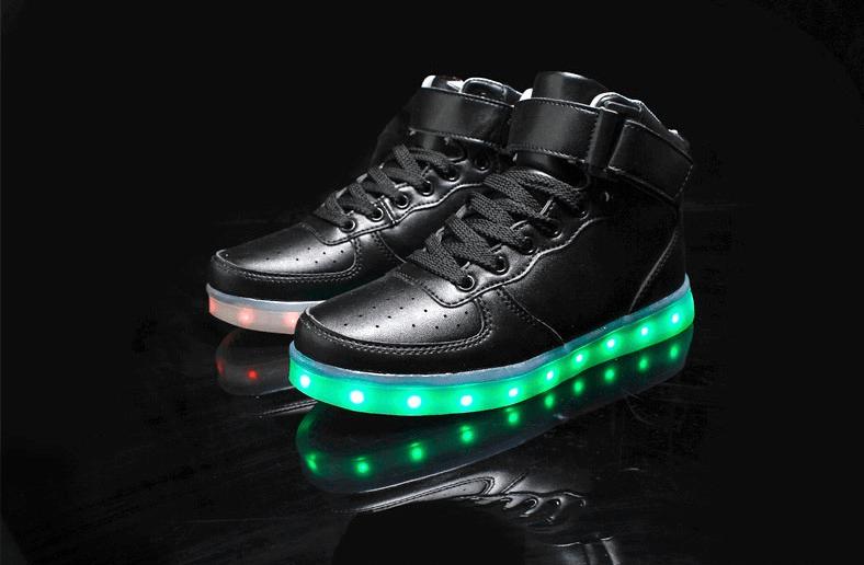 mens led shoes high top black