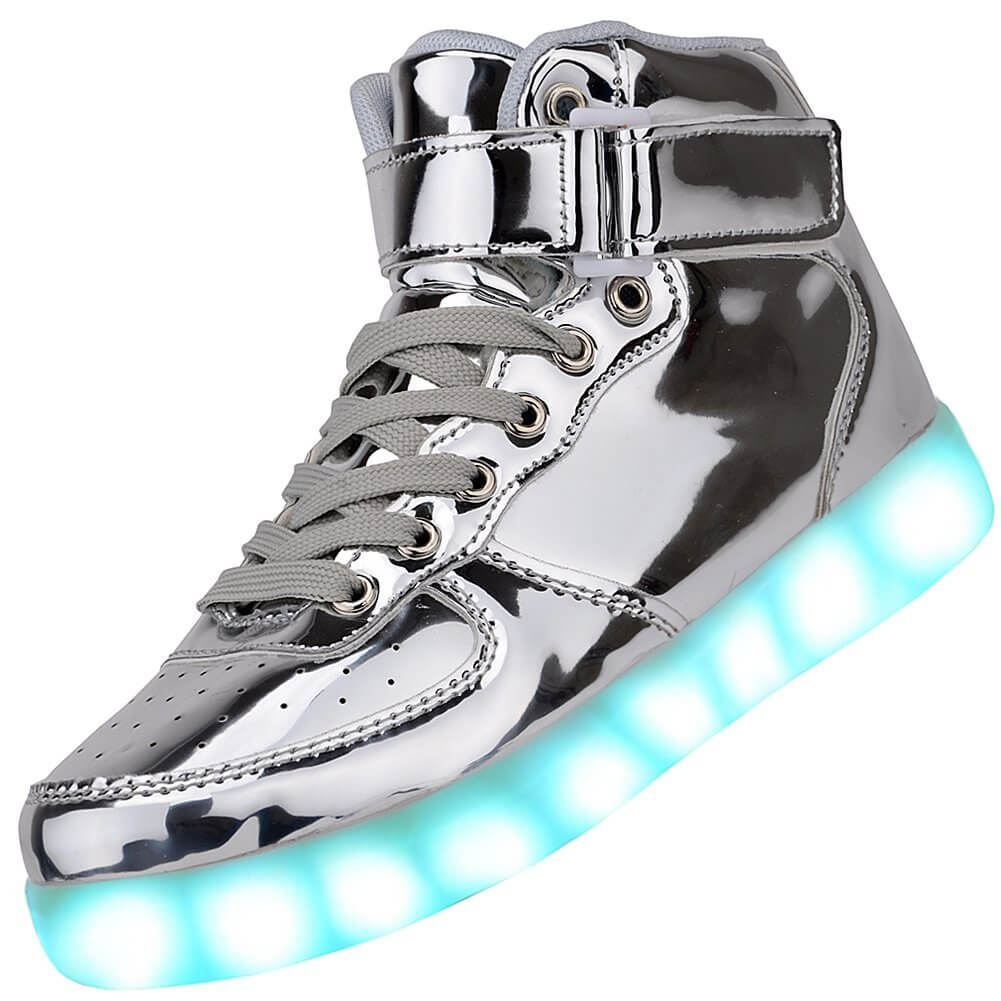 LED Shoes Kids High Top Silver Remote d08fe61a07