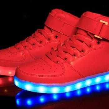 Red led hight top shoes