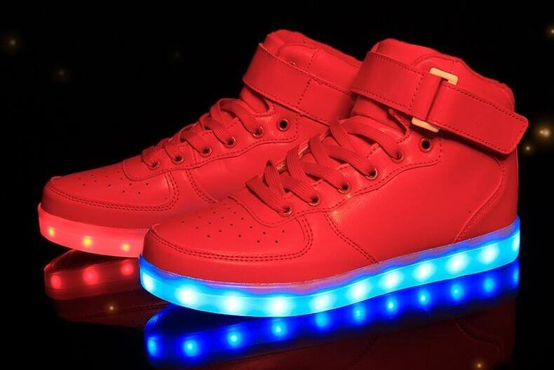 Led Shoes Womens Red High Top Remote-8677