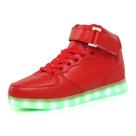 high top led shoes in red