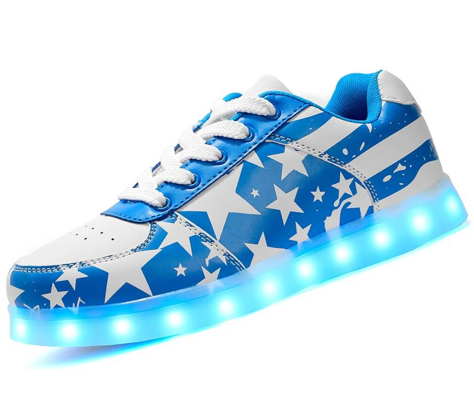Kids Blue Low Led Stars Shoes Top H2IYWDE9