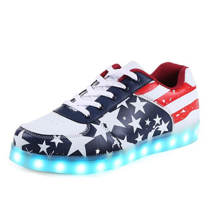 427d12b6c58f LED Shoes Mens American Flag Low Top