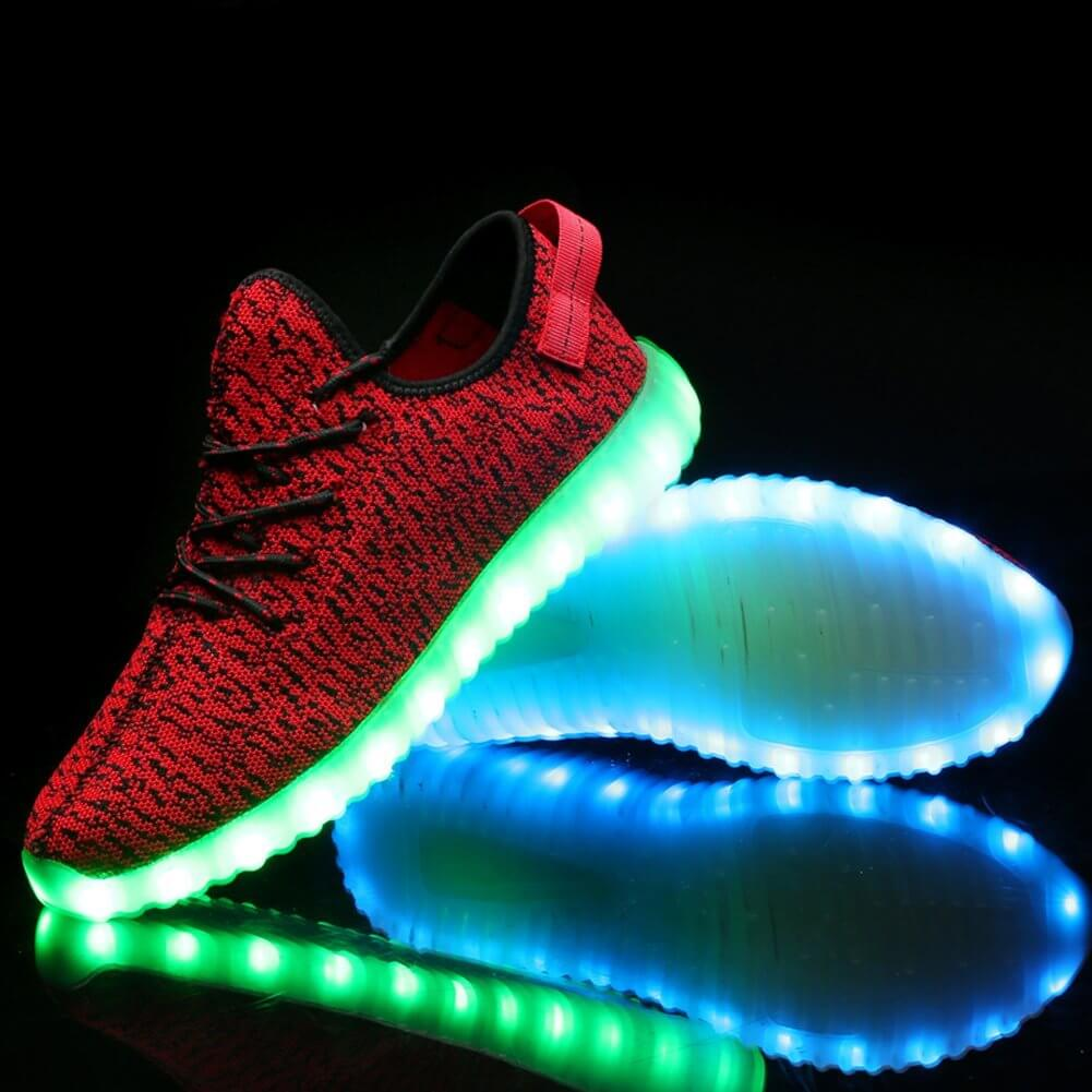 Bright LED Light Up Trainers Red Kids Remote db7d2237464d