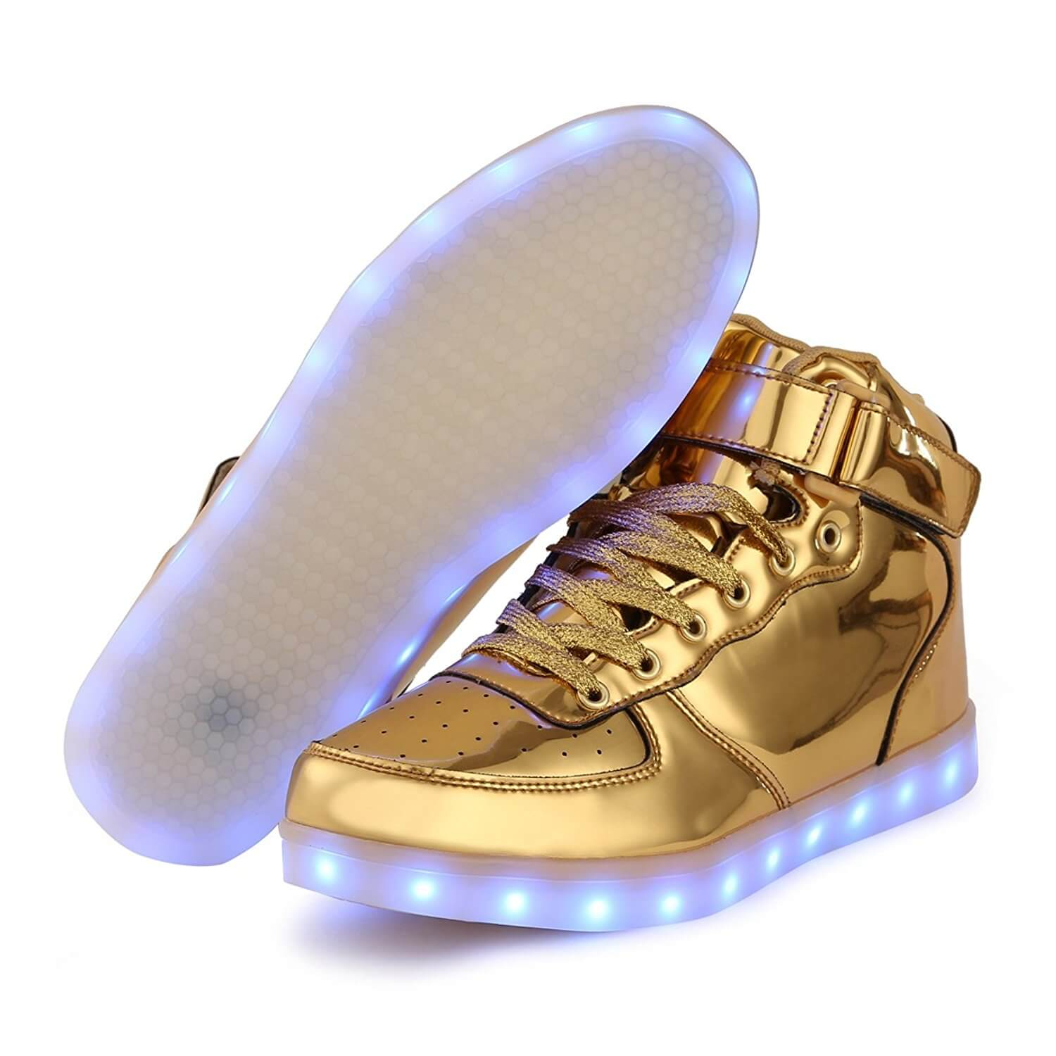 6a55cdb8d60a LED Shoes Men Gold High Top Remote