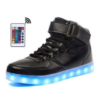 high top led shoes black remote control