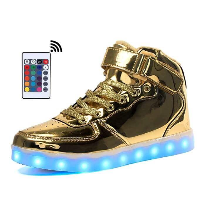 73509b04d487 gold light up shoes remote control