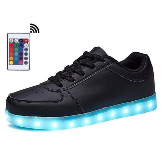 14991cebffead6 LED Shoes Mens Black Low Top Remote