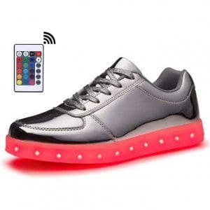 low top silver led shoes with remote