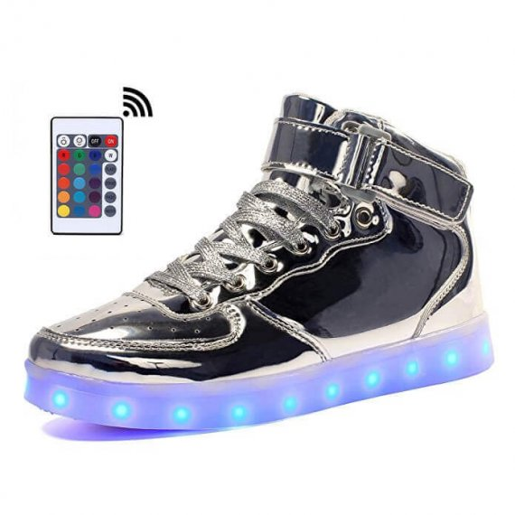 silver led shoes with remote