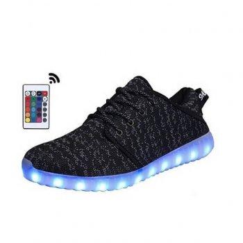 black canvas led shoes remote control