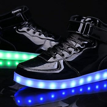 black high top led shoes patent leather 2