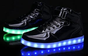 black high top led shoes patent leather 3
