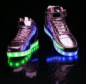 pink high top patent leather led shoes 4