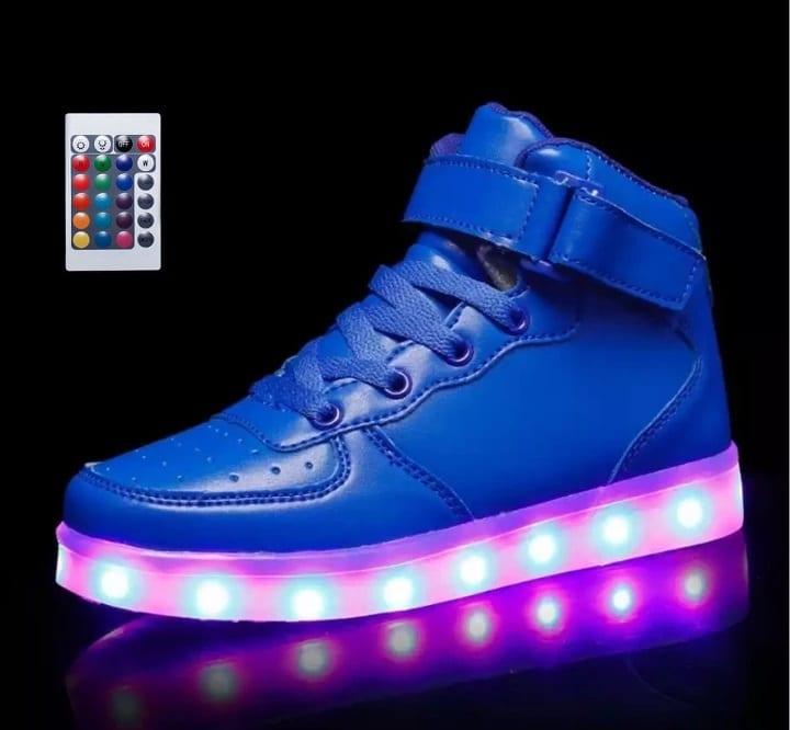 LED Shoes Little Kids Blue High Top Remote