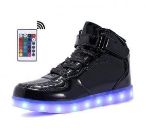 black plat led shoes remote