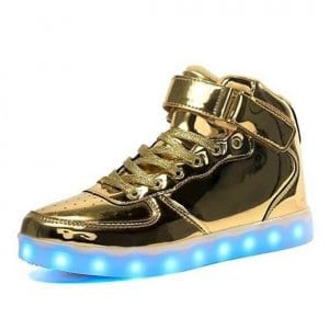 gold led shoes with remote