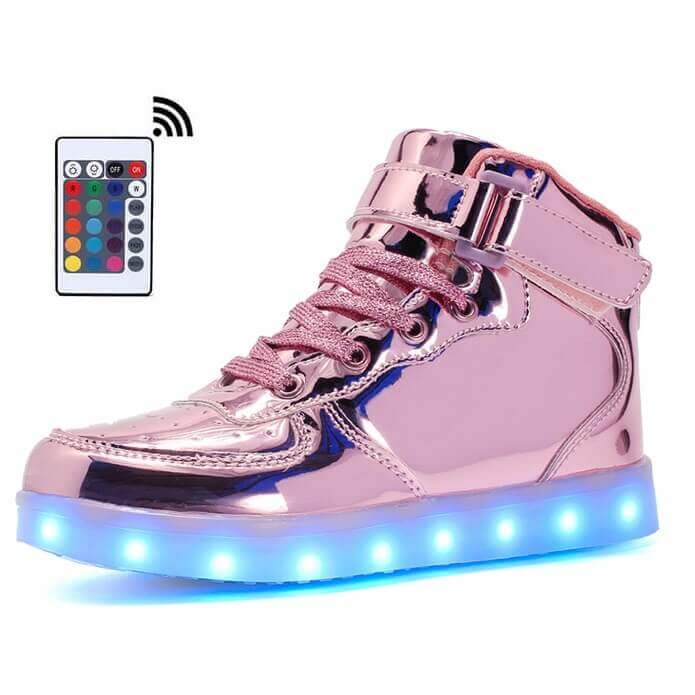 280449b00a998 Led Shoes Women Pink High Top Platinum Remote