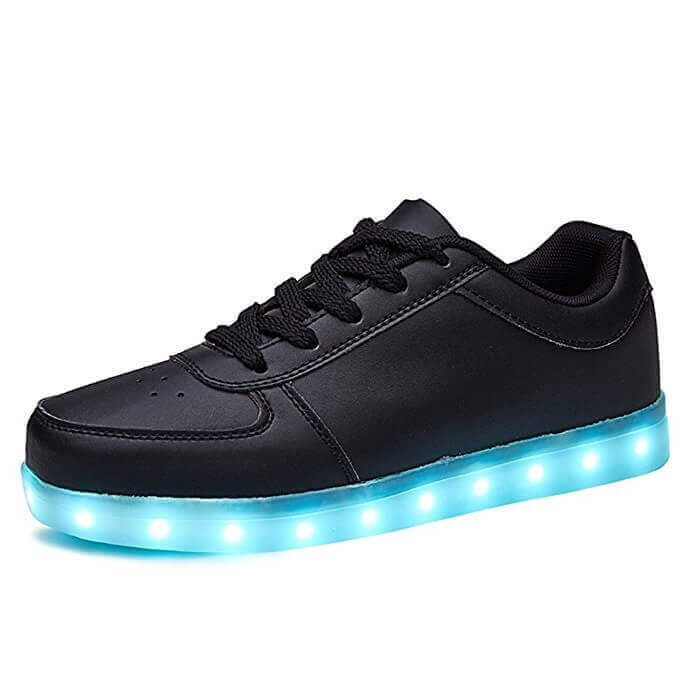 Galaxy LED Shoes Light Up USB Charging Low Top Mens Sneakers (Black)