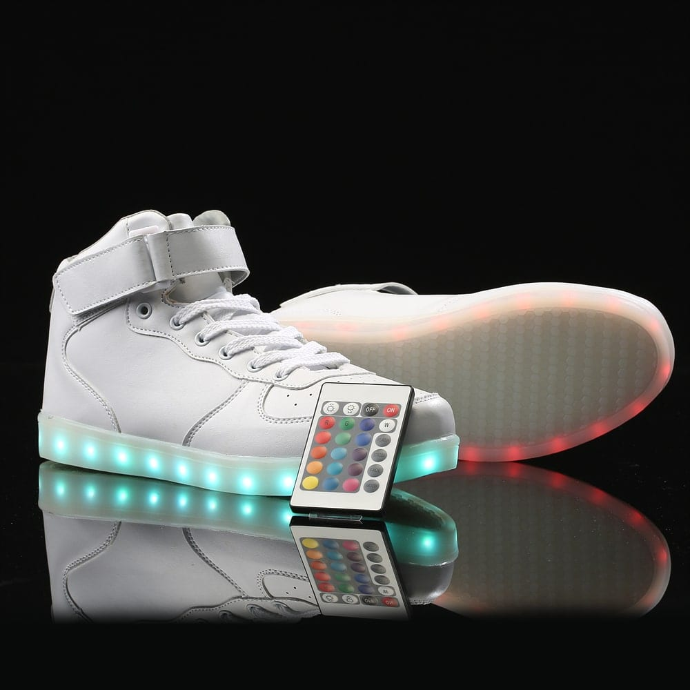 LED Shoes Mens White High Top Remote